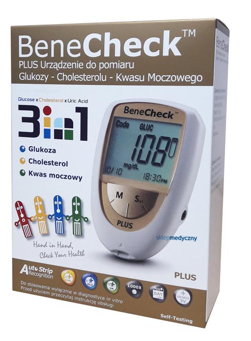 BENECHECK PLUS: do pomiaru glukozy, kwasu moczowego i cholesterolu